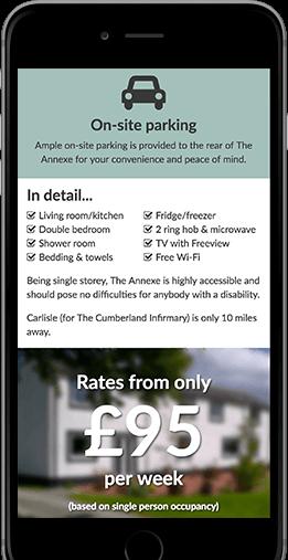 Fingland Annexe Website on Mobile